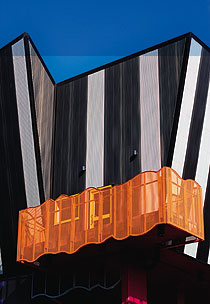 The whimsical Victorian College of the Arts building showcases contrasting COLORBOND® steels.