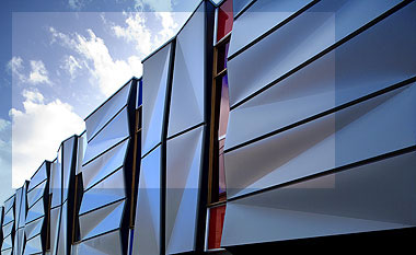 A Façade of folded COLORBOND® steel on townhouses.