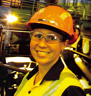 Gloria Ryall, trainee engineer at the Port Kembla Steelworks Hot Strip Mill.