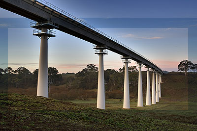 XLERPLATE® pylons used in the bridge over Lal Lal Creek near Ballarat, for the Regional Fast Rail project.