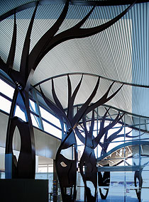 Bottle trees sculpted from XLERPLATE® steel, Dogwood Crossing @ Miles art and community centre.