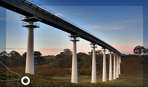 MOORABOOL, VIC., AUSTRALIA. XLERPLATE® pylons used in the bridge over Lal Lal Creek near Ballarat, for the Regional Fast Rail project.
